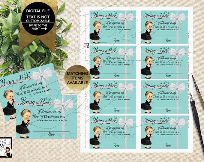 "Baby and Co Diaper Raffle Baby Shower Inserts, Party Printable. 3.5x2.5"" 8/Sheet. {INSTANT DOWNLOAD/Baby: Light Brunette}"