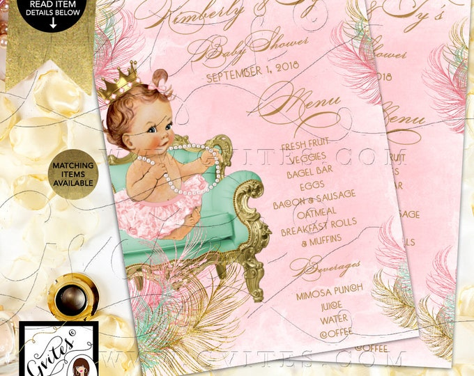"Baby Menu Cards Pink and Mint Shower, Princess Printable, Vintage Baby Girl, Gold Crown, Mint Green Gold & Blush DIY, Digital, 4x6"" or 5x7"""