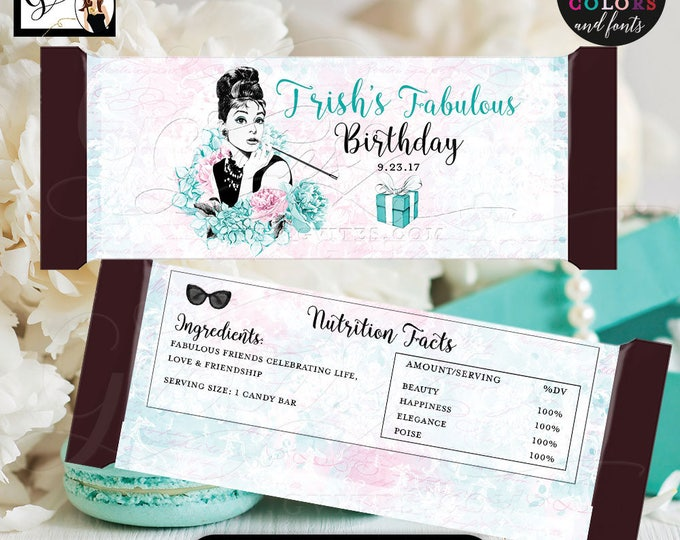 """Birthday Candy Wrappers, Audrey Hepburn Candy bar wrapper, labels decor, breakfast at and co favors gifts, {2 Per/Sheet 5.25 x 5.75""""}"""