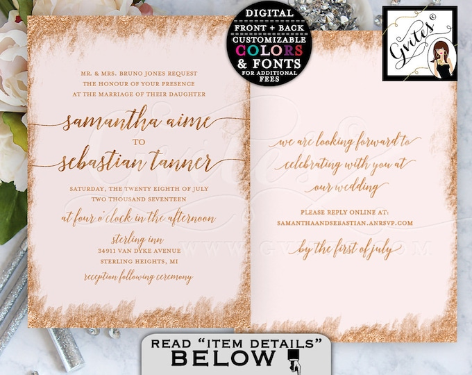 """Rose Gold Printable Wedding Invitation Double Sided. 5x7"""" Digital File Only! By Gvites."""