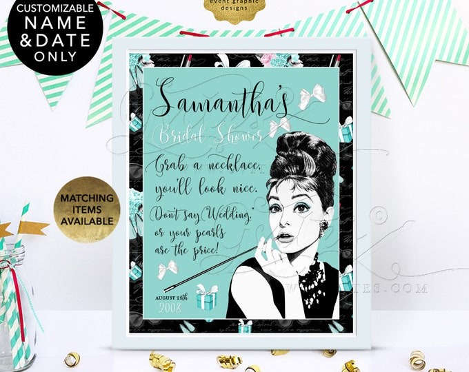 """Audrey Hepburn Pearl Necklace Game Sign. Don't Say Wedding 8x10"""" Can be personalized with bride's name and date. Digital File Only!"""