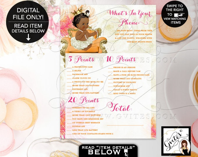 "What's In Your Phone Baby Shower Printable Game, Pink and Orange, Gold, Ivory, Princess Girl Vintage Crown Pearls 7x5"" Gvites"