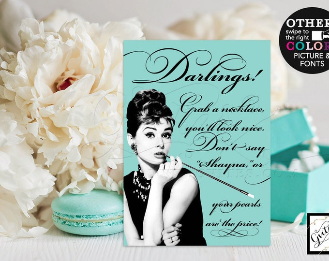 Breakfast bridal shower games, Audrey Hepburn pearl necklace game sign, decorations, gifts & favors. 5x7  {Customizable Bride's Name}