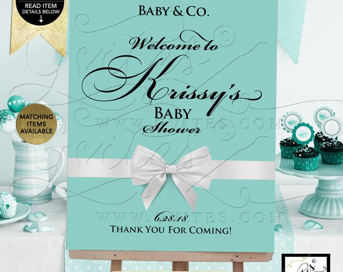 Baby and Co Welcome signs, baby shower, breakfast at and co, printable, blue poster, decorations. {Customizable Name & Date ONLY!}