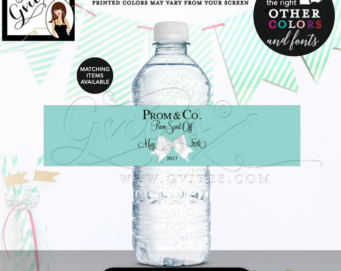 Blue Water Labels - Breakfast themed, Prom & Co, graduation, turquoise blue water bottle label printable, digital file,