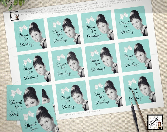"Audrey Hepburn party printables, favor tags, thank you darling, breakfast at co bridal baby shower. 2x2""/12 Per Sheet CUSTOMIZABLE"