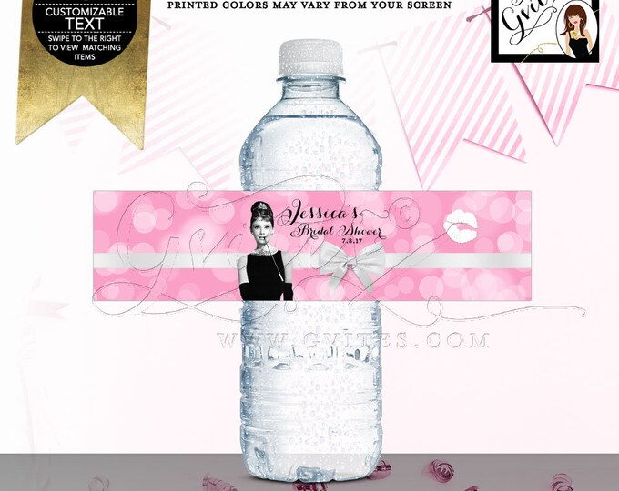 "Audrey Hepburn Printable Water Label, Bridal Shower Decorations, Favors, Gifts, Party Stickers, Digital, DIY, 8x2""/5 Per Sheet"
