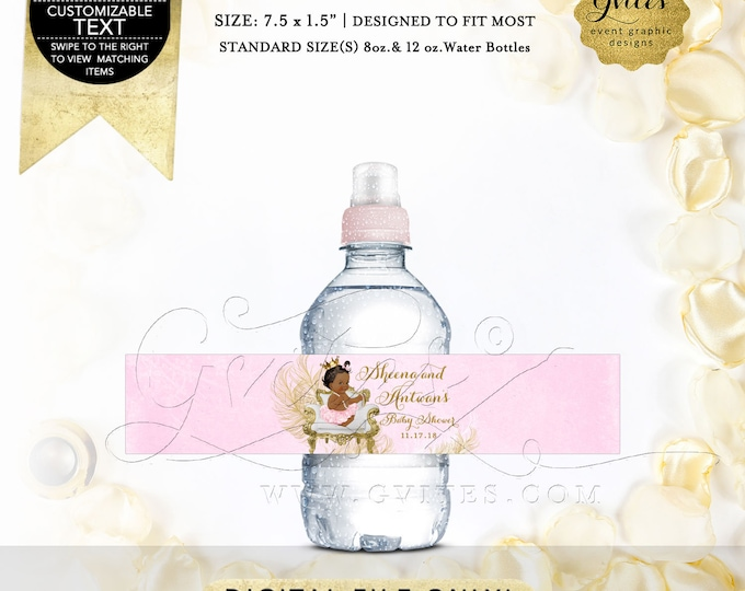 "MINI Pink Gold Water Bottle Labels baby shower, princess party favors gifts. Fits Bottles 8oz-12oz. 7.5 x 1.5""/7  {White/Gold Feathers}"