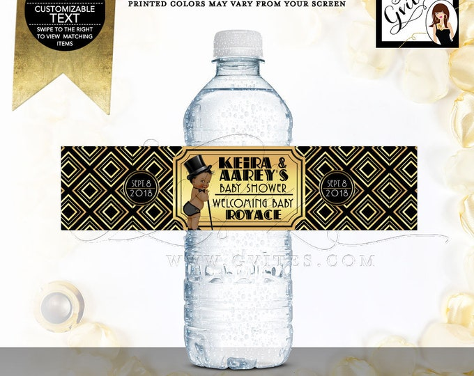 "Black and Gold Water Bottle Labels Baby Shower, African American Prince Boy, Top Hat, Gatsby Vintage 1920s DIY, Digital, 8x2""/5 Per Sheet."