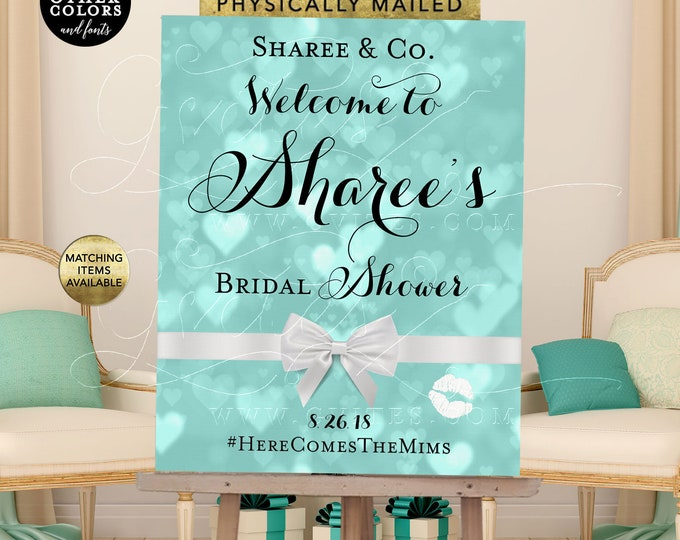 Name and Co Bridal Shower Signs, Printable Breakfast at Blue Themed Decorations, Signs Posters, DIY, Digital File Only!