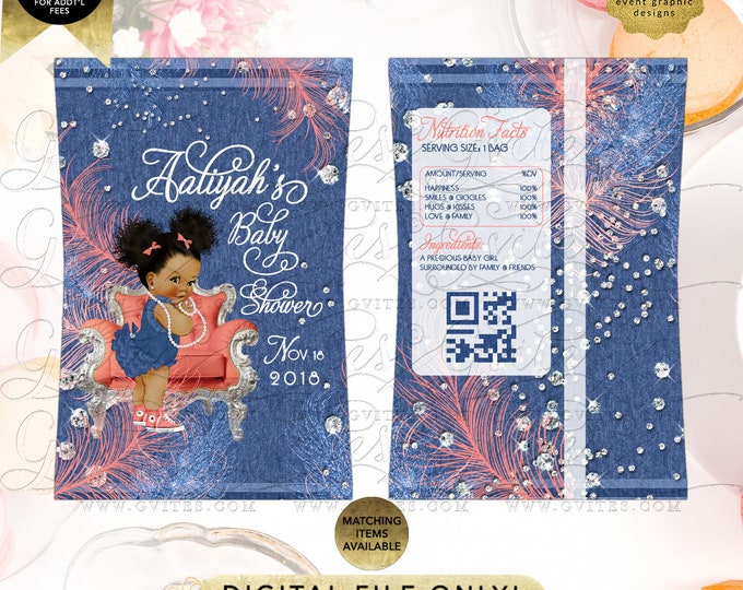 Denim and Diamonds Chip Bag For Baby Shower Favors Soft Little Curls Coral, Afro Puffs Curly Vintage African American Girl.
