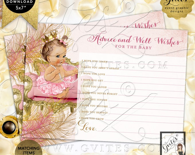 "Advice Well Wishes For Baby Blush Pink Gold | Light/Brunette Girl Instant Download JPG + PDF 7x5"" 2/Per Sheet Design: CWCHS-101 By Gvites"