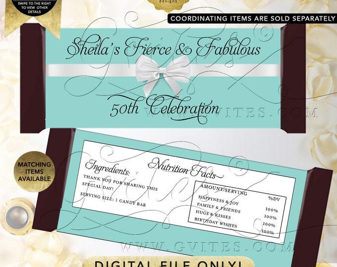 "Candy Wrappers 50th Birthday Fierce & Fabulous Personalized Favors   Printable Digital JPG + PDF    2 Per/Sheet 5.25x5.75"" {Satin Ribbon}"