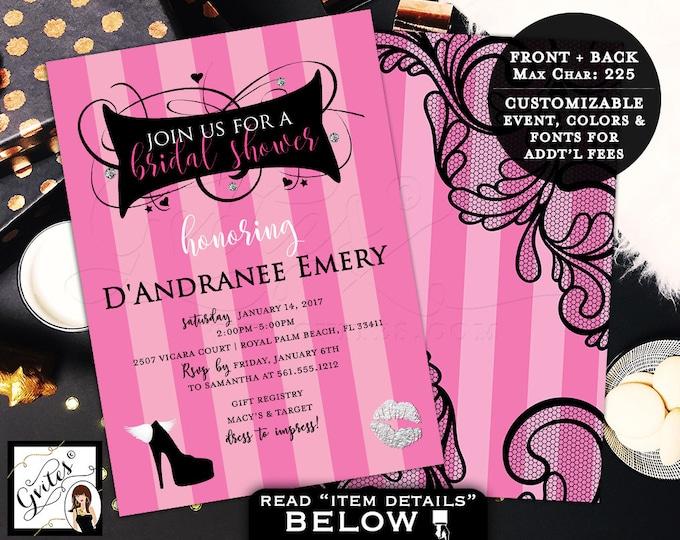 Victoria Secret Bridal Shower Invitation, pink party invitations, pink black lace silver, fashion designer, glitz glam, 5x7 double sided.