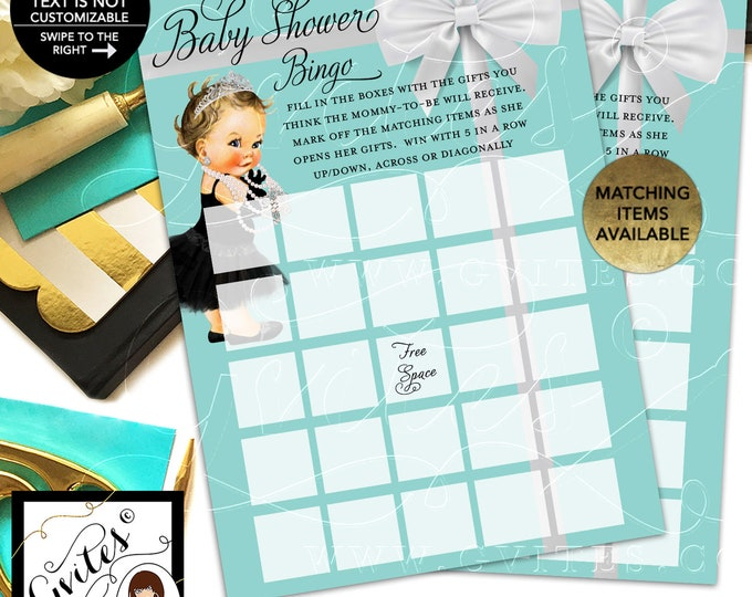 """Baby Shower Bingo Girl Princess Printable, Baby and Co Party Games. 5x7""""/2 Per Sheet {INSTANT DOWNLOAD/Baby: Light/Brunette}"""