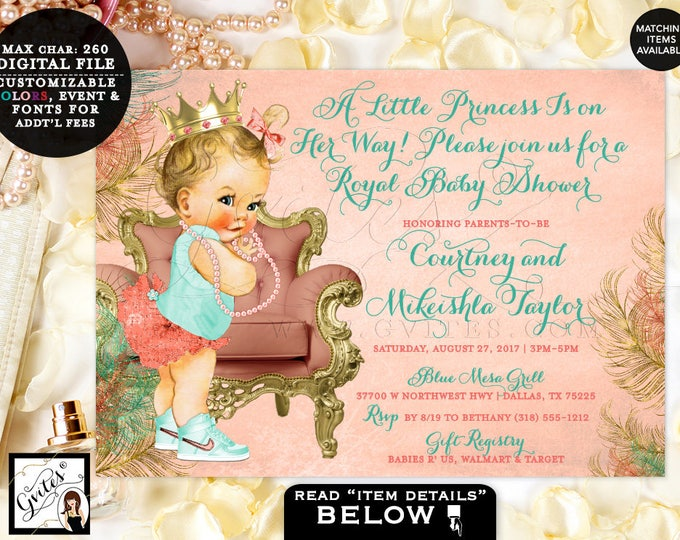Coral and Mint Baby Shower Invitation Princess Baby Vintage, Gold Baby Invites, girl printable digital file only Gvites