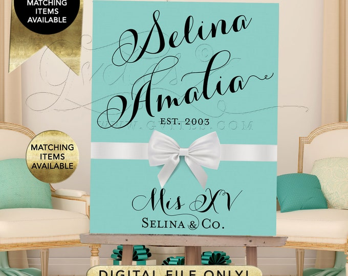 Mis Quince Poster Sign Breakfast at Decoration Entrance Welcome Signs, XV Party Printable Decor Quinceanera, DIGITAL, DIY {Black Fonts}
