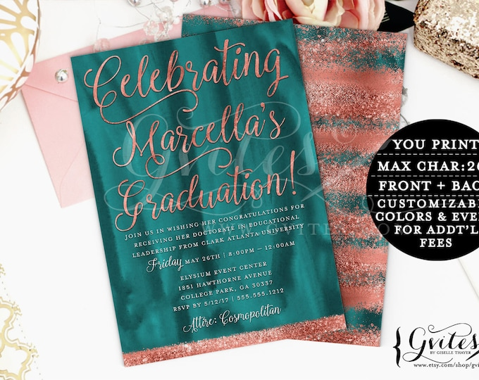 Teal and Copper Graduation invitation, modern, rose gold glitter printable invitations, couture, glitz and glam fashionable, glamorous.