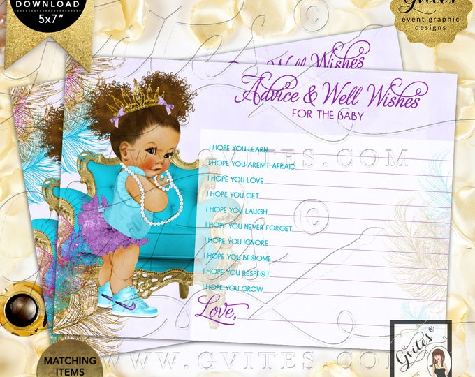 "Purple Gold Turquoise Lavender Advice for baby shower wishes | Med/Puffs Curly | 7x5"" 2 Per Sheet 