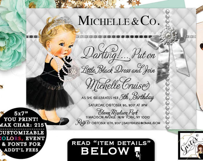 Silver and Black Birthday Invitation, Vintage baby Girl, Audrey Baby 5th Birthday, pearls, diamonds, tiara, printable, baby and co, 7x5""