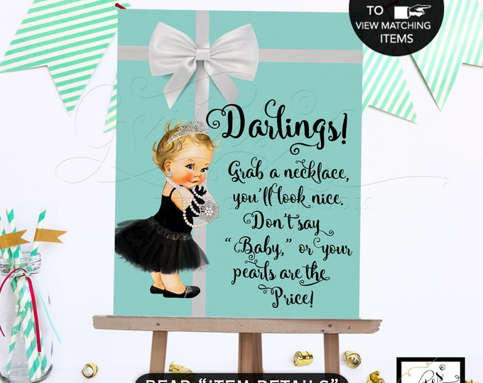 Baby SHOWER necklace game sign, digital game signs, Grab a necklace don't say baby game sign, ribbons bows, diamonds pearls, 8x10, PRINTABLE
