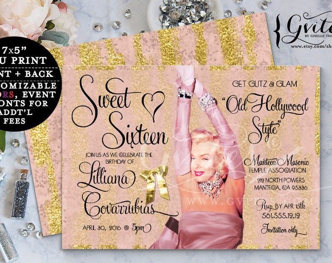 """Marilyn Monroe Invitations, Pink Gold Old Hollywood Birthday Invites 1950s style, glitz glam, printable Sweet 16, 7x5"""" Double Sided."""