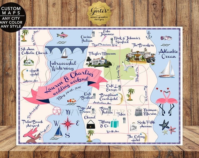 Palm Beach Wedding Map, Custom Nautical Theme, Graphic Designs Themed Events, Printable, Digital File, Any City/Theme/Color/Style. Gvites