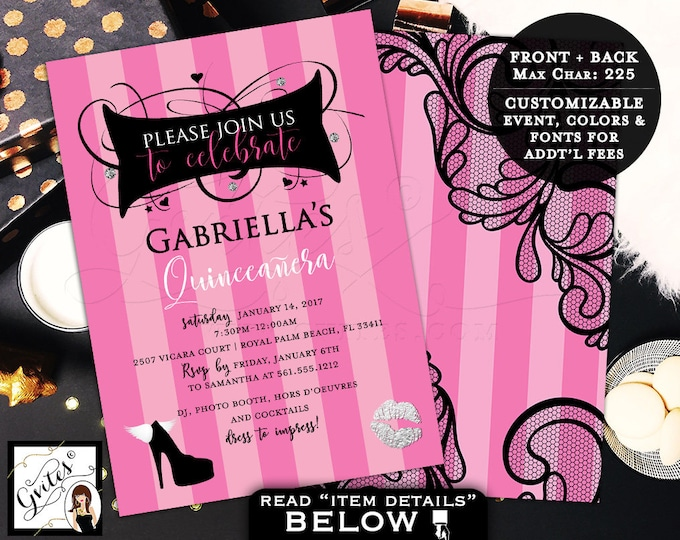 Teen birthday, Victoria Secret Invitations, Pink Party Invites, Fashion designer, printable invitation, 5x7 double sided.