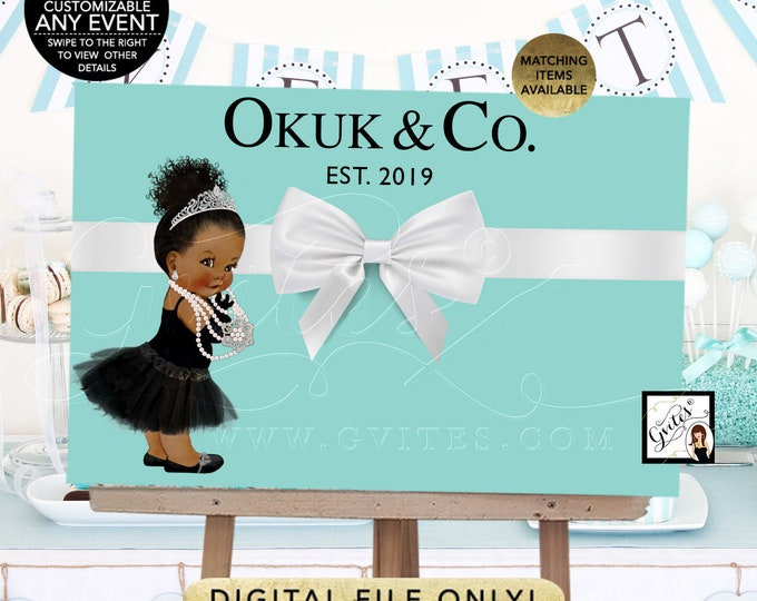 Baby and Co Backdrop Decorations, Afro/Bun Curly Hair, poster signs, birthdays, blue decor, DIY, Digital