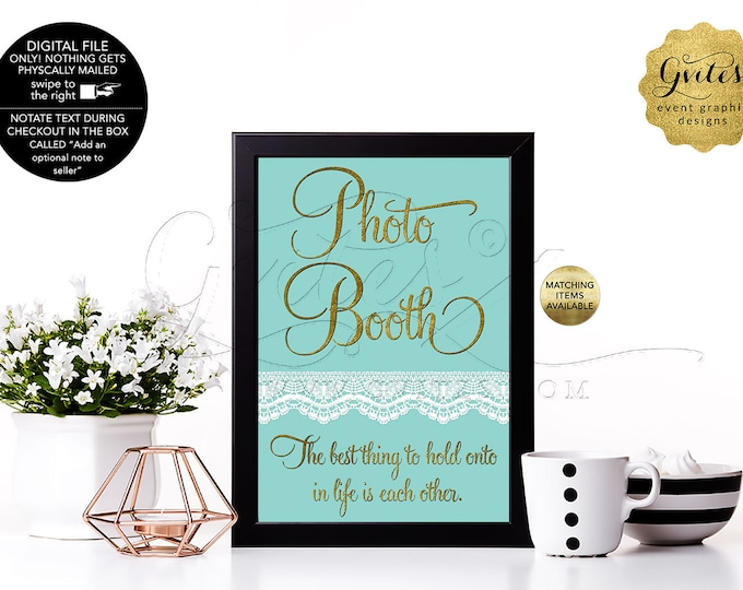Photo Booth Signs With Personalized Audrey Hepburn Quote. Breakfast at, Bride and co, blue themed, DIY, Digital file. 4x6 or 5x7
