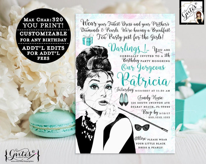 Breakfast at Tiffanys 5th birthday invitation, Audrey Hepburn, baby girl invitations, 5x7, digital, printable, customizable any bday. Gvites