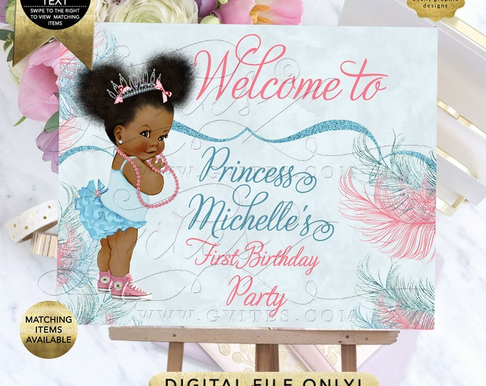 Blue Pink Welcome Sign First Birthday Party/2nd/3rd/4th Poster, Signs Decoration, Princess Afro Puffs Entrance Decor, Digital, Printable.