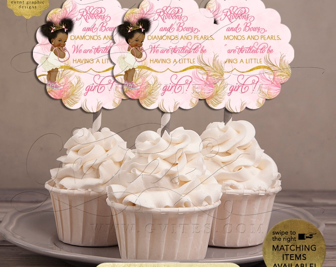 """Cupcake Toppers Pink and Gold Baby Shower 