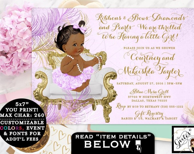 Purple and gold baby shower invitations, African American baby ribbons bows invitation, lavender gold baby invites 7x5 PRINTABLE. Gvites