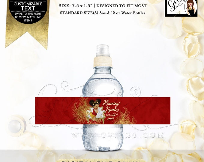 "MINI Water Labels Red and Gold Christmas Themed Baby Shower.  Fits 8oz-12oz. Size: 7.5 x 1.5""/7 Per Sheet."