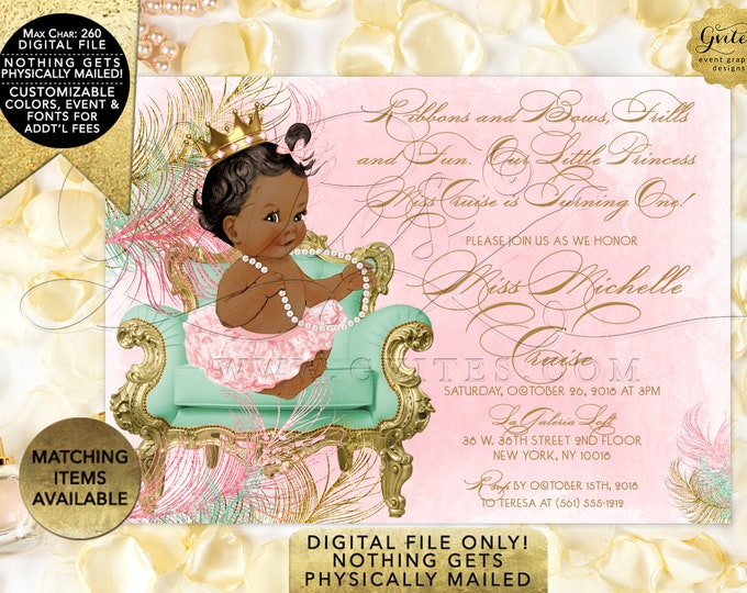 Pink Mint Green & Gold First Birthday Invitations. Princess Vintage Baby Girl. Digital File Only! JPG + PDF 7x5""
