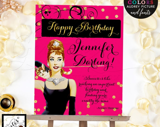 Audrey Hepburn Printable Party Signs, Pink and Gold Happy Birthday Sign, Breakfast mint green and gold, pink and gold, Digital File Only!