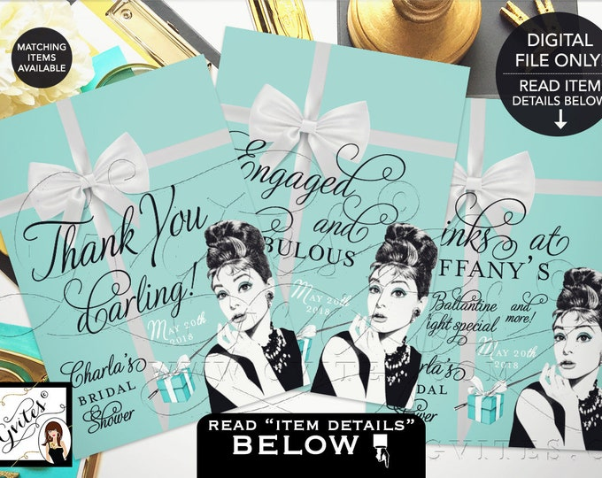 Bridal Shower Signs, Personalized Audrey Hepburn Party Signs, Thank You, Breakfast at, shower decorations. {4x6 or 5x7} Set of 3 Gvites