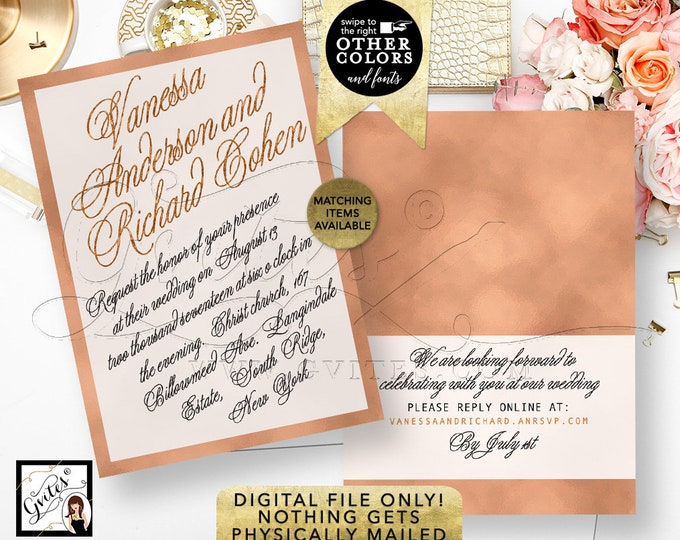 "Rose Gold Wedding Invitation Printable Template, Foil Digital Invitations, Bridal, Modern Calligraphy Font Invites, 5x7"" Double Sided."