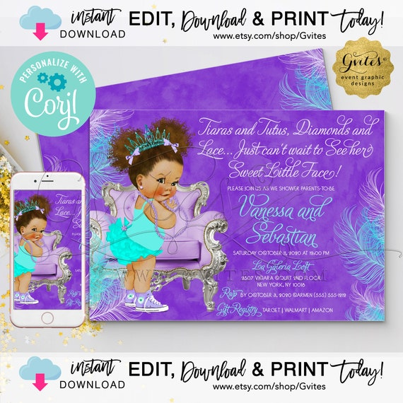 "Lavender & Turquoise Baby Shower Invitation Med/Puffs Curly | Tiaras Tutus Diamond Lace 7x5"" Double Sided {Edit YOURSELF with Corjl}"
