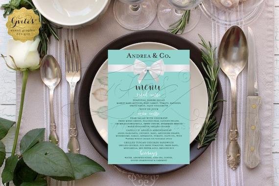 Bridal Wedding Shower Menu Cards | Name & Co/ Breakfast Theme | Turquoise Blue/ Robin Egg | Digital/ Printable/ JPG/ PDF 4x6/ 5x7 or 4x9