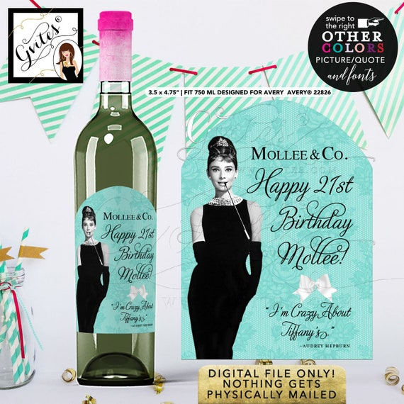 Wine Labels Breakfast at Co Themed Happy Birthday Audrey Hepburn Quote. {Designed For Avery® 22826}