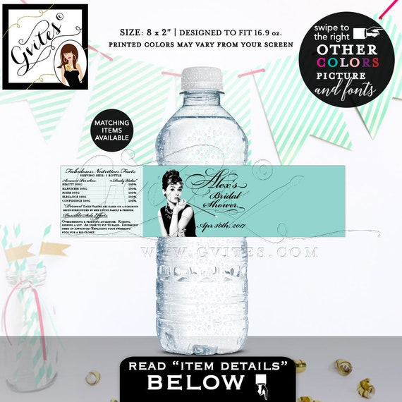 "Bride & Co water labels/ breakfast at blue themed Audrey Hepburn label bottle wrapper/ favors gifts/ customizable {8x2"" 5 Per/ Sheet}."