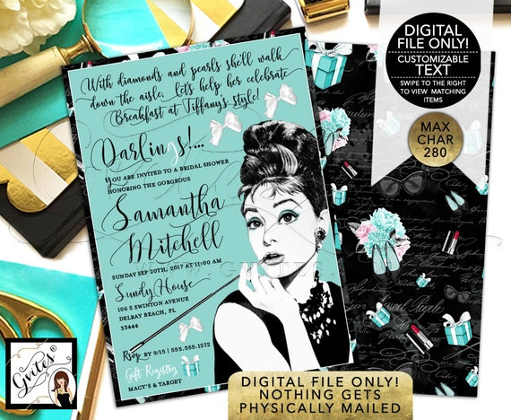 "Audrey Hepburn Diamonds and Pearls Bridal Shower Invitations DIY/ Printable. 5x7"" Double Sided."