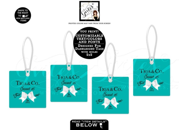 """Gift Tags Personalized, Turquoise party favors, sweet 16 birthday, thank you tag. 2x2""""/12 Per Sheet {Dashleigh© Square Tags w/holes 2x2""""}"""