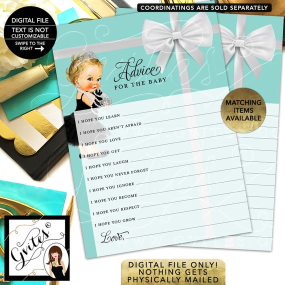 """Advice Card Wishes Baby and Co Shower Printable. 5x7""""/2 Per Sheet {INSTANT DOWNLOAD/Baby: Light Brunette}"""
