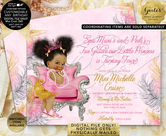 "Pink Gold & Silver Baby 1st/ 4th Birthday Invitation | Afro Puffs Princess Printable Invites 7x5"" Double Sided {Pink/ Silver/ Gold Feathers}"