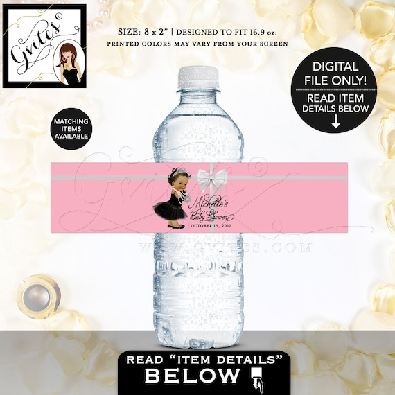 """Baby Shower Pink Water Labels, PRINTABLE bottle wrapper, Colors & TEXT breakfast at, baby and co. 8x2"""" 5/Per Sheet. Gvites"""