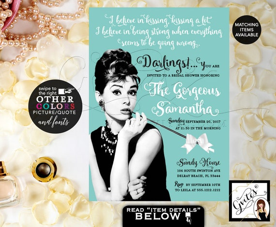 Audrey Hepburn Bridal Shower Invitation/ Printable Darlings Breakfast at Co Party Wedding Theme/ Turquoise Blue White Bow