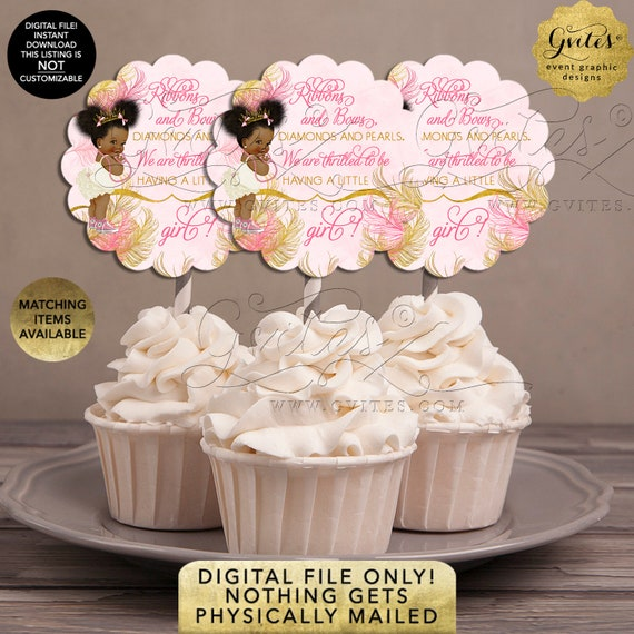 "Cupcake Toppers Pink & Gold Baby Shower Vintage Baby: Dark/Puffs | Instant Download. JPG + PDF | 2.5x2.5""/ 9 Per Sheet {Avery® 08218}"